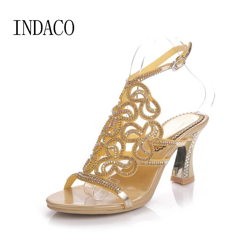 Silver Rhinestone Sandals Crystal High Heel Shoes Wedding Shoes Black Gold Strappy Heels Sandales Femme 8cm rhinestone detail strappy sandals