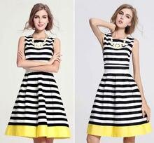 Neue 2015 mode Frauen striped beiläufige sommerkleid sexy Ärmellosen Abend Party Minikleider vestidos