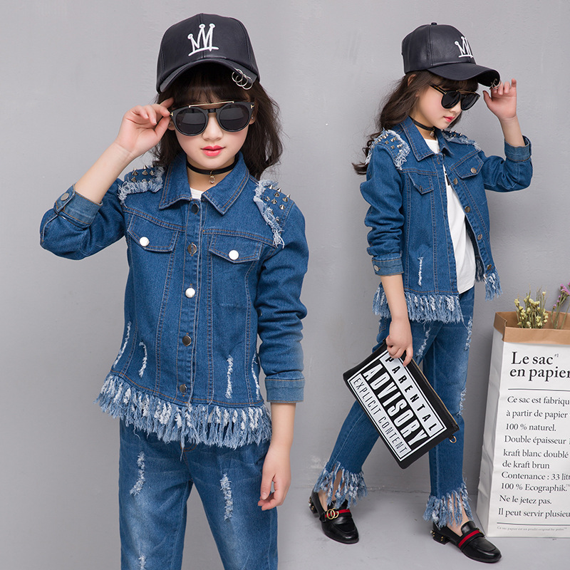 цены 2017 New Girls Cowboy Suit Jeans for Girl Tassel Costume Denim Jacket Teenage Girls Clothes Winter Children Kids Baby Clothing