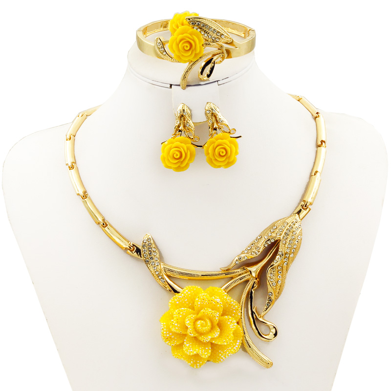 Hot Fashion Italy Dubai Red Yellow Rose Pendant Necklace Earrings Ring Luxury Women Crystal Jewelry Sets Charm Bridal Accessory viennois new blue crystal fashion rhinestone pendant earrings ring bracelet and long necklace sets for women jewelry sets