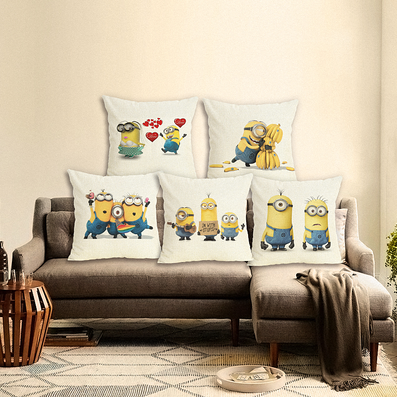 High Quality Cartoon Style Cotton Linen Cushion Cover Minions Print Sofa Pillow Case Home Decor Cojines Printed Square Fundas