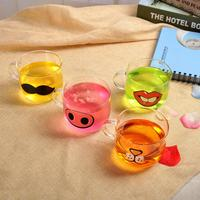 1Pc Clear New Cartoon Heat Resisting Transparent Drinkware Coffee Tea Glass Cup Glassware Cup
