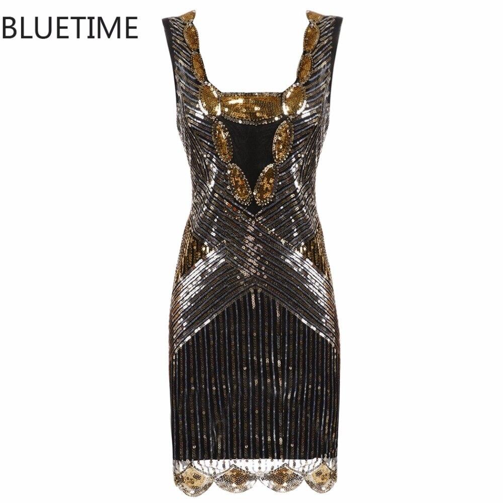 BLUETIME 1920 s Great Gatsby Vintage Kleid Frauen Pailletten Sexy ...