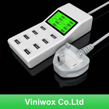 New eight Ports USB Energy Adapter LCD Display Good Show For Mobilephone Pill CellPhone Multi Charger UK EU Energy Plug Socket