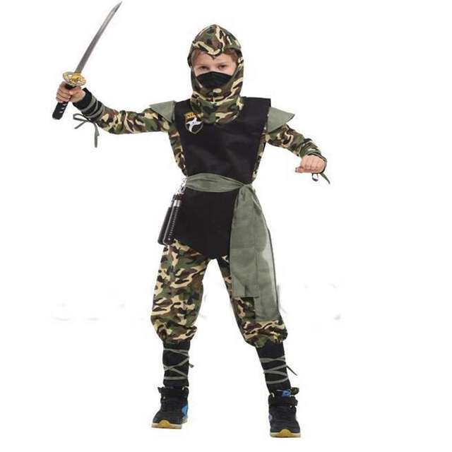 Halloween Costumes New Boy  Costumes Camouflage Ninja Dressed Up Children Naruto Cosplay