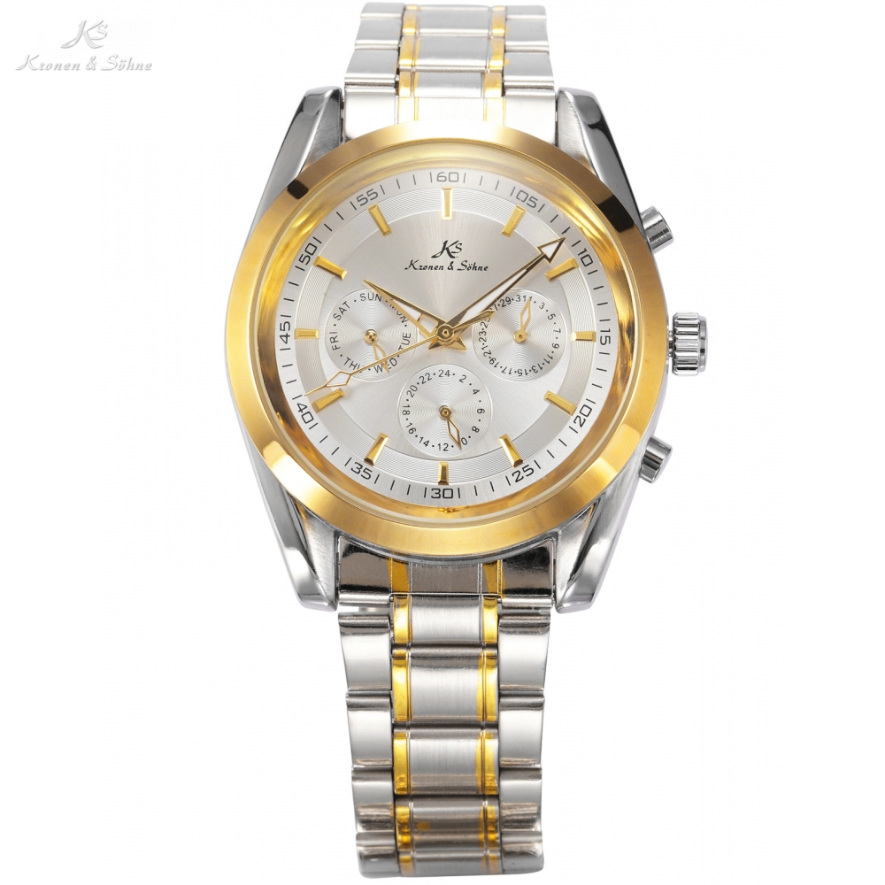 Classic KS 6 Hands Date Day Display Silver Stainless Full Steel Business Dress Automatic Men s