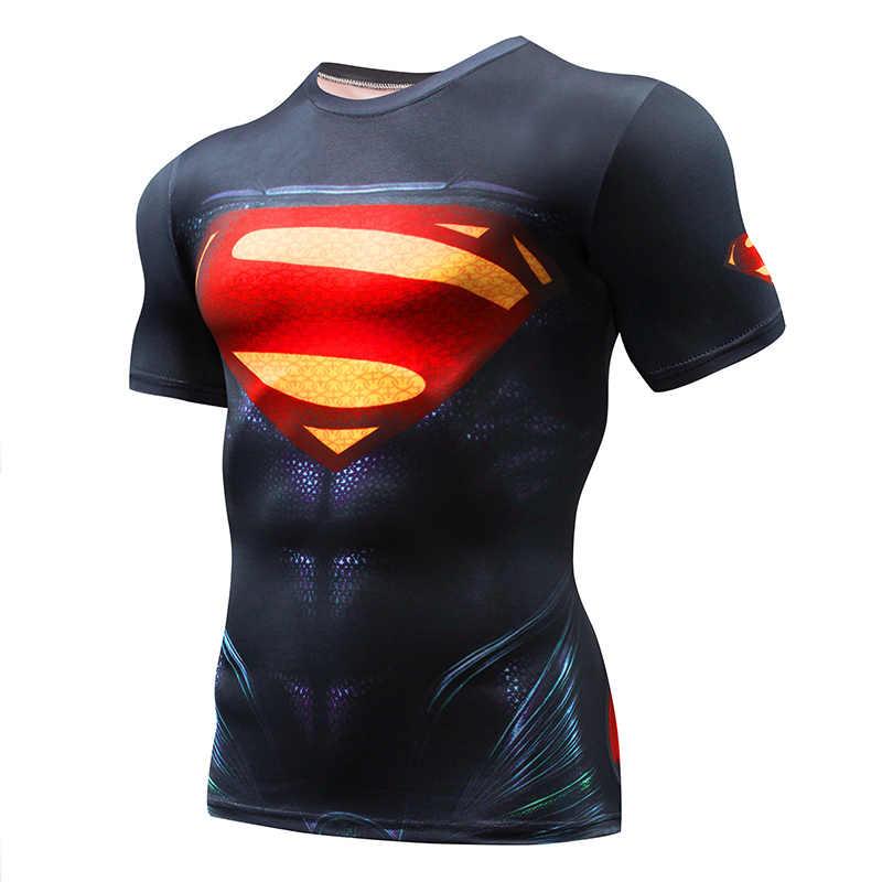 Punisher Gym Olahraga T Kemeja Pria Lengan Pendek T-shirt Pria CrossFit Tee Captain America Superman Kompresi Kemeja MMA Tengkorak Atasan