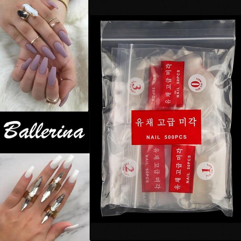 Ballerina Acrylic Nail Tips Sets Coffin Shape NaturalClear