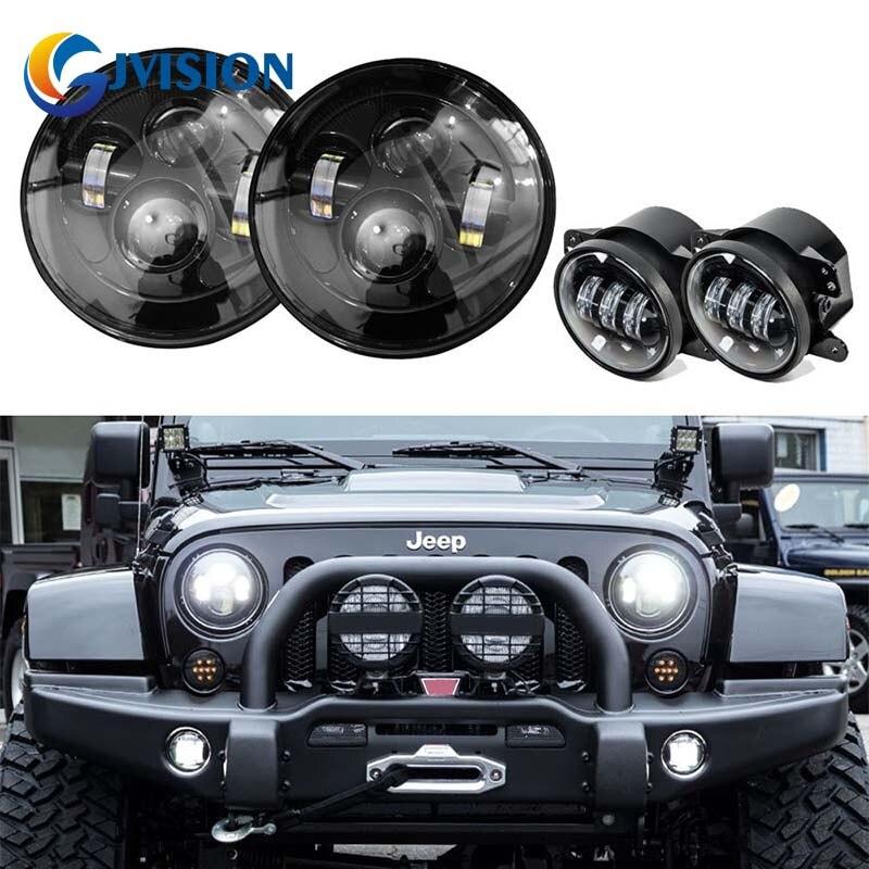 DOT SAE Approved 7'' Black Daymaker led headlights + 4 inch Round fog lights lens projector for Jeep Wrangler 97-17 JK TJ LJ цена