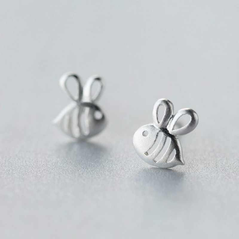 925 Sterling Silver Prevent Allergy 7mmX8mm Hollow Bees Stud Earrings for Women Wedding Earrings Jewelry Pendientes