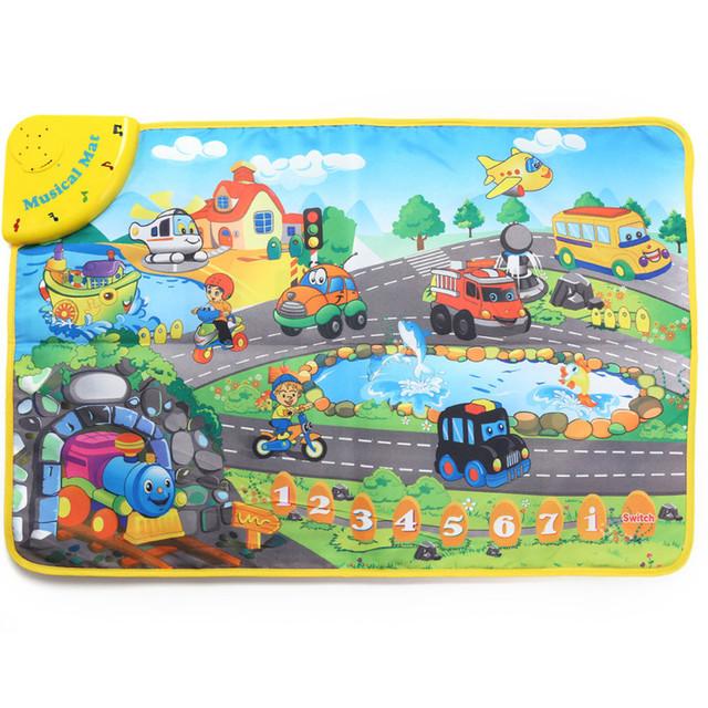 Crianças Cor Brilhante Transporte Som Musical Cantando Crawling Jogar Mat Tapete Estudo Novidade Diversão Aprendizagem Educacional Brinquedo de Presente