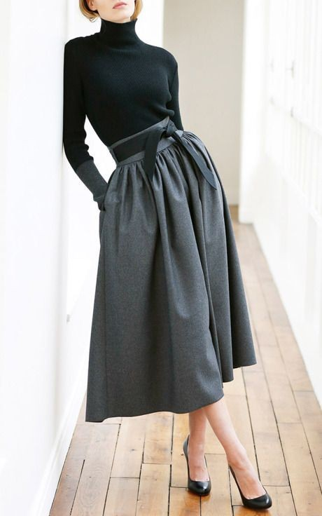 Online Shop Fashion Dark Grey Midi Skirts Zipper Waist With Ribbon ...