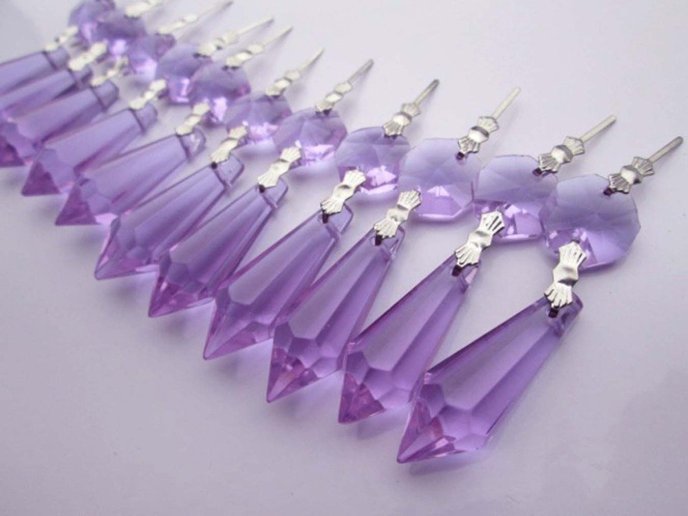 Lights & Lighting Lighting Accessories Realistic 20pcs/lot 14*55mm Purple Crystal Glass Chandelier Icicle Drop Pendants Hanging Lighting Arts For Wedding Cake Topper Decoration Regular Tea Drinking Improves Your Health