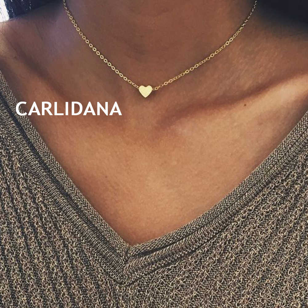 CARLIDANA Trendy Stainless Steel Necklace Women dainty Pendant Heart Necklace Love Chokers Necklaces for women