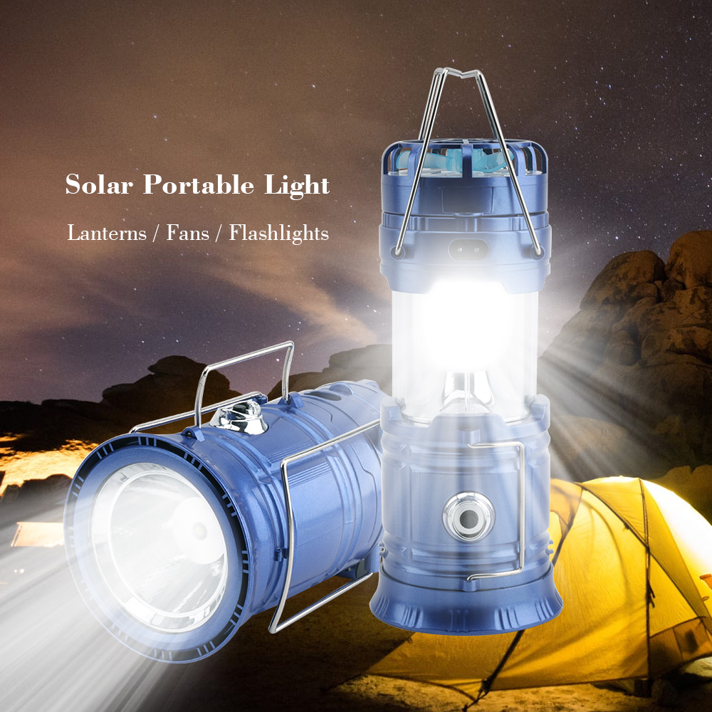 BORUiT 3 in 1 Portable Lantern Solar Light Rechargeable LED Flashlight Power Bank Camping Light Outdoor Hanging Lamp with Fan