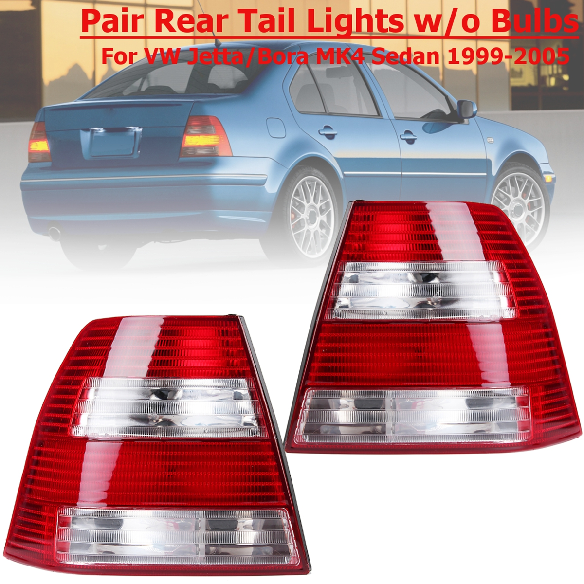 цена на 1 Pair Brake Lamp Rear Red Tail Lights For Volkswagen Jetta for VW Jetta Bora MK4 IV Sedan 1999 2000 2001 2002 2003 2004 2005