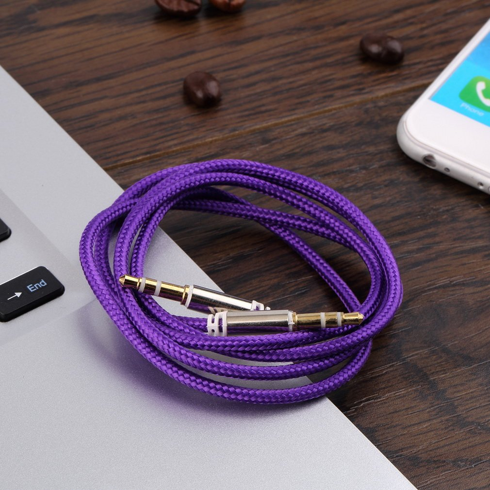 1m Braided Woven 3.5mm Male To Male AUX Audio Headphone Cord Cable Nylon Blend +Metal Easy To Use Plug And Play