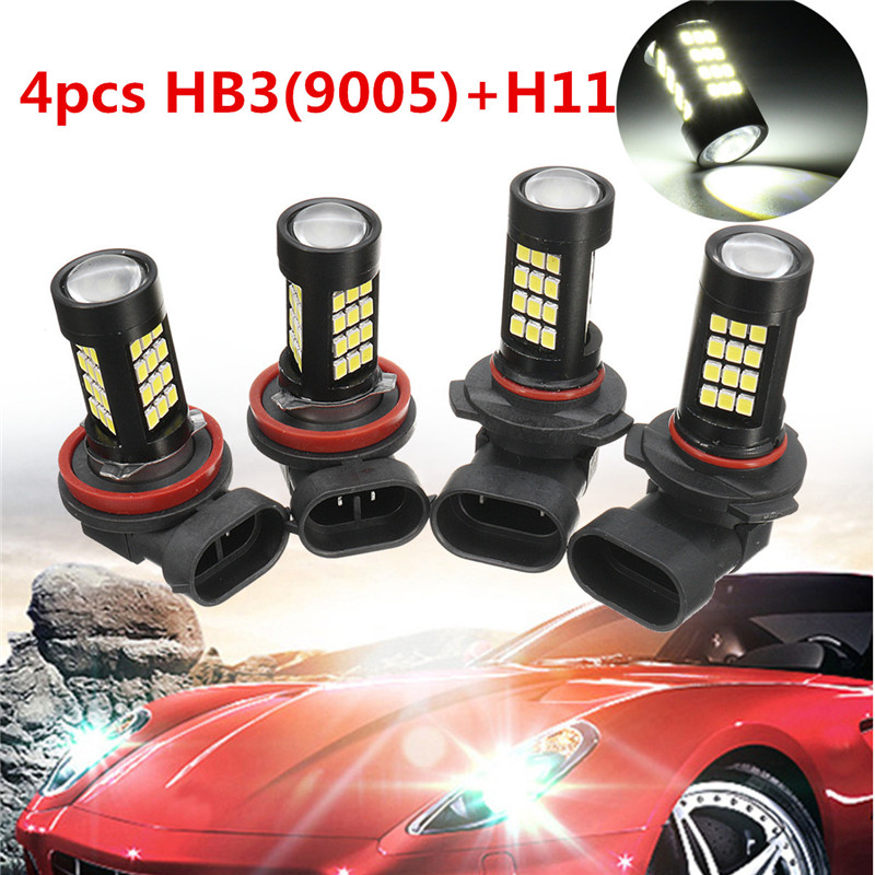 4Pcs Combo 9005-HB3 H11 LED Car Fog Light Super White Canbus Error Free Headlight Bulb Set 42-SMD 6000K Hi/Lo Beam car light cob chip h4 h13 9004 9007 hi lo beam h7 9005 hb3 9006 hb4 h11 h9 h1 h3 9012 auto led headlight bulb 8000lm 12v 6500k