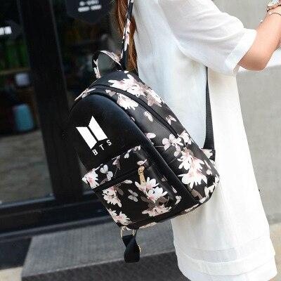 Mainlead Kpop Exo Groups Butterfly Flower Pu Women Girls Bag Teenage Backpack Travel Big Clearance Sale Home