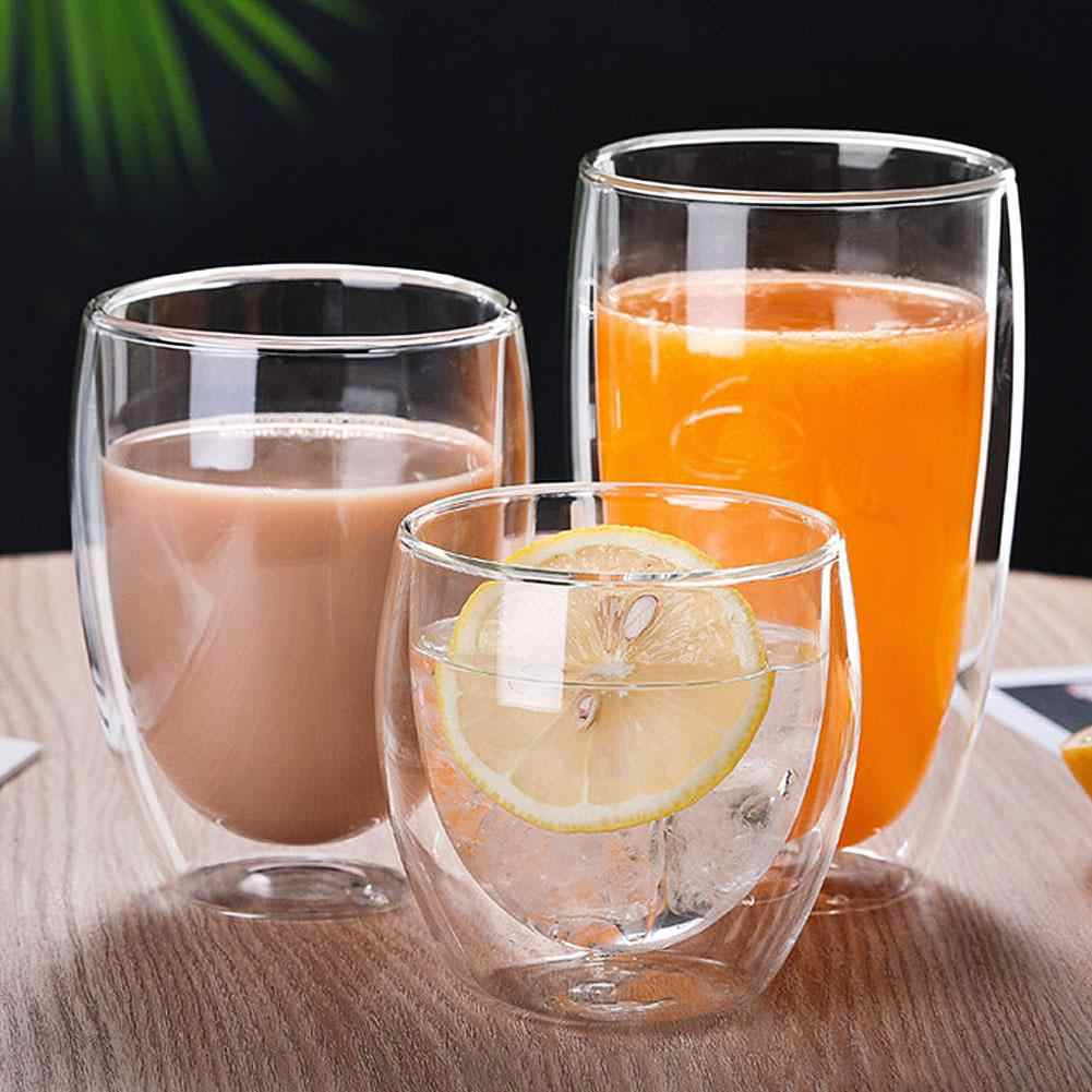 250/350/450ml wine glass cup Milk Coffee Double Layer Insulation Water Glass Cup Mug Drinkware whiskey glass vasos de vidrio