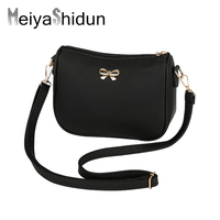 New Vintage Cute Bow Small Leather Handbags Women Evening Clutch Lady Phone Purse Famous Brand Shoulder