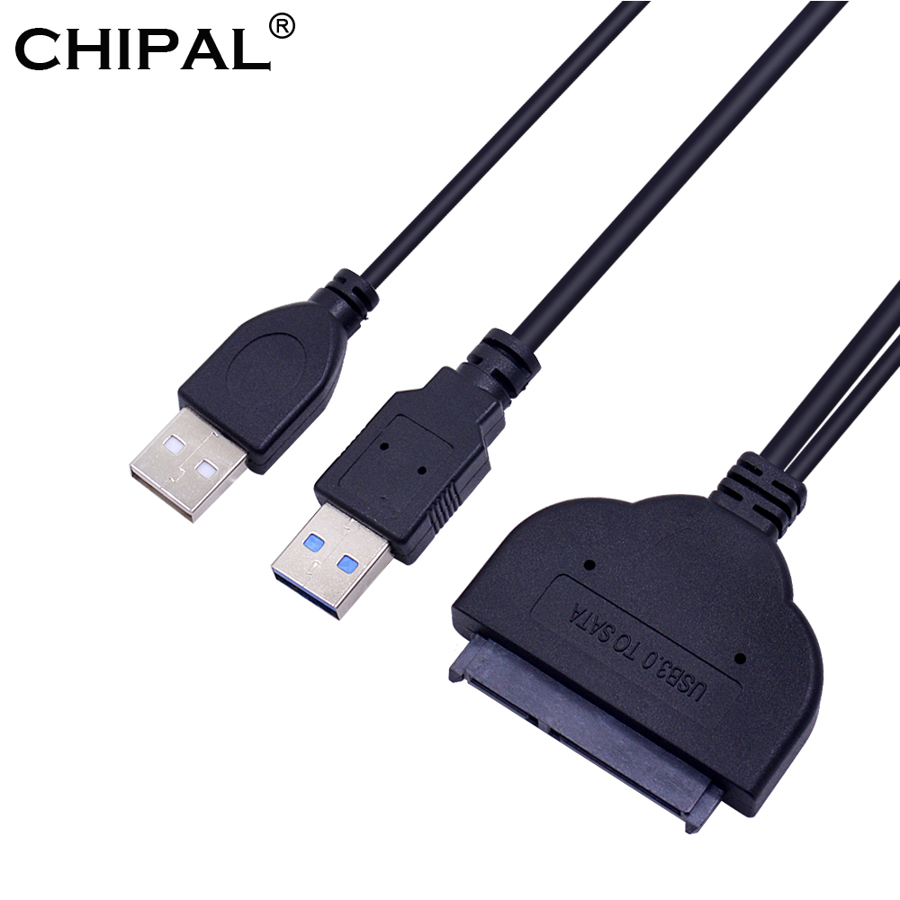 CHIPAL USB 3.0 to 7 15 22Pin SATA Adapter Cable External USB 2.0 Power Cord for 2.5 Ssd Hdd Hard Disk Drive Converter