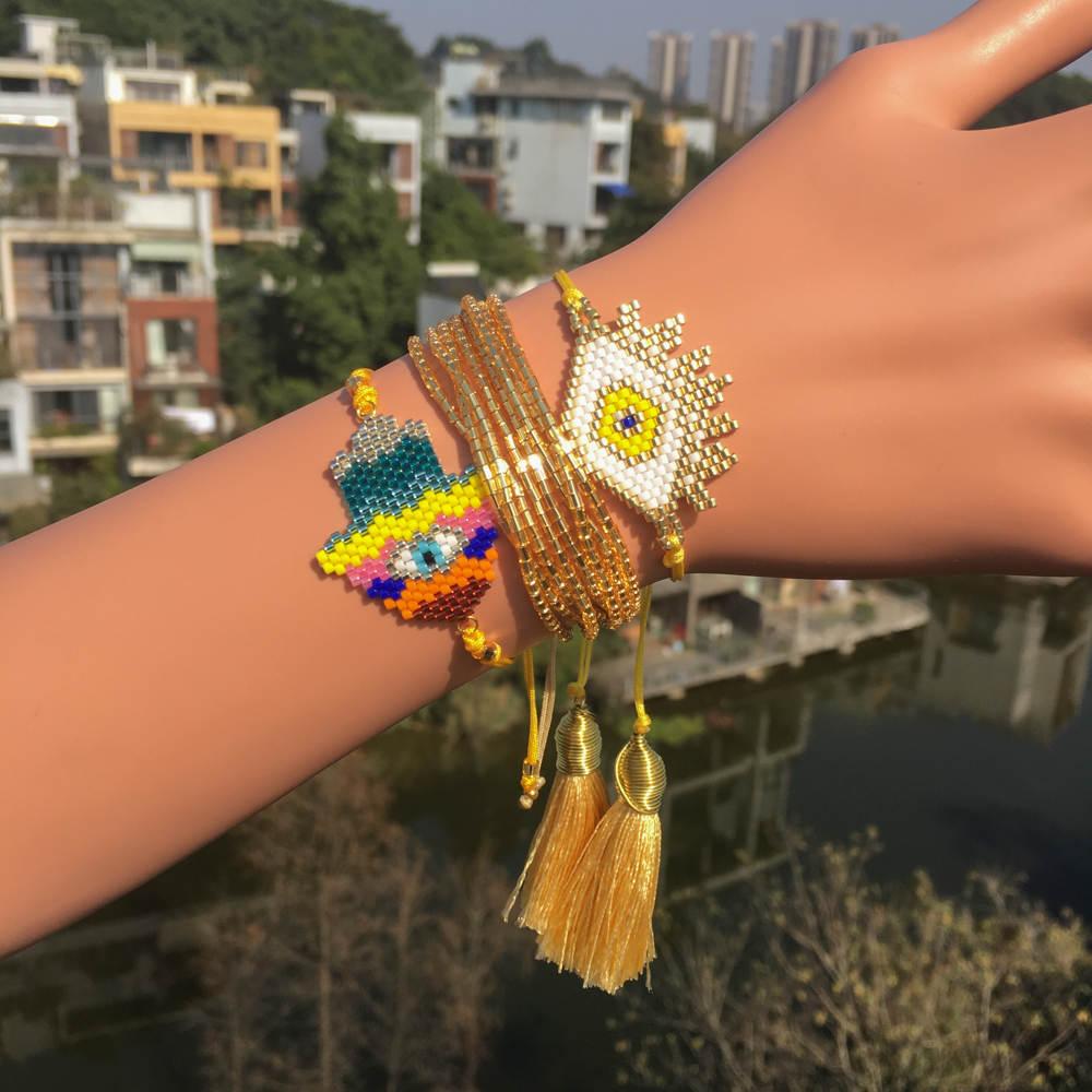 Go2boho MIYUKI Bracelet Turkish Evil Eye Bracelet Hamsa Colorful Hand Pulsera Gold Yellow Jewelry Tassel Bracelets For Women New in Charm Bracelets from Jewelry Accessories