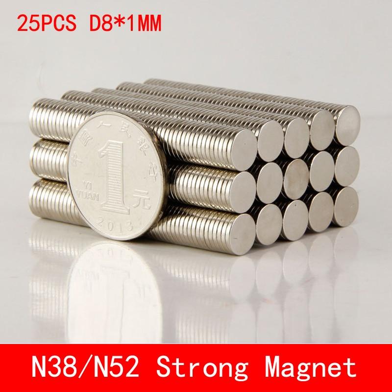 25pcs Neodymium Disc Magnets 8x1 mm N38 N50 N52 Super Strong Powerful Rare Earth 8mm x 1mm Small Round Magnet