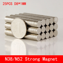 25pcs Neodymium Disc Magnets 8x1 mm N38 N50 N52 Super Strong Powerful Rare Earth 8mm x 1mm Small Round Magnet