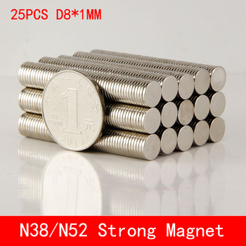25pcs Neodymium Disc Magnets 8x1 mm N38 N50 N52 Super Strong Powerful Rare Earth 8mm x 1mm Small Round Magnet 50pcs round n52 neodymium magnets strong rare earth magnet disc 20mm x 3mm for industry tools