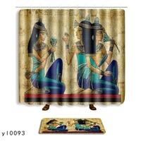 2 Pieces Set African Woman Egyptian Bathroom Mat Curtain Set Anti slip Bath Mat Rug + Bath Shower Curtain Bathroom Products 2018