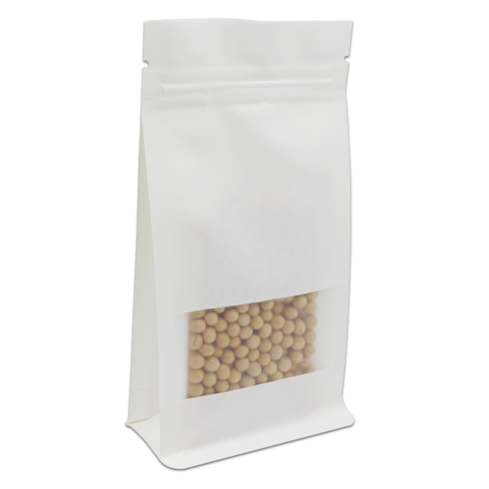 Stand Up DHL White Kraft Paper Zip Lock Reclosable Packing Pouches For Coffee Tea Storage Bellows Pockets Clear Window Organ Bag