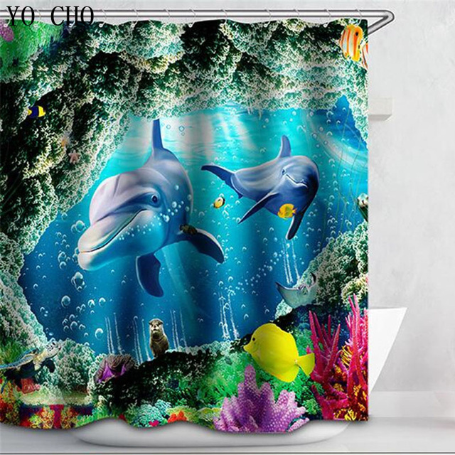 Superb Shower Curtain Dolphin Bath Curtain Animal Fabric 3d WaterProof Shark Whals  Sea Turtle Blue Cartoon Curtain