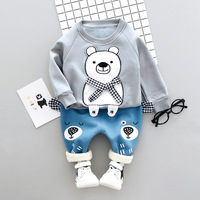 Baby Boys Clothes 2017 Winter Thicker Baby Clothing Sets Cartoon Bear Top Casual Pants 2Pcs Leisure