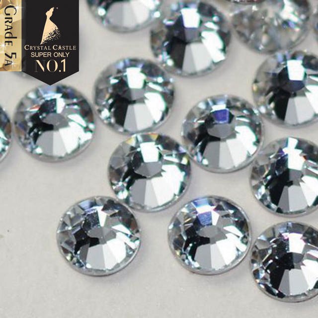 placeholder Crystal Castle Hotfix Rhinestones For Clothes 5A Best Shiny Hot  Fix Strass Hotfix Clear White Stones 43bbca132600