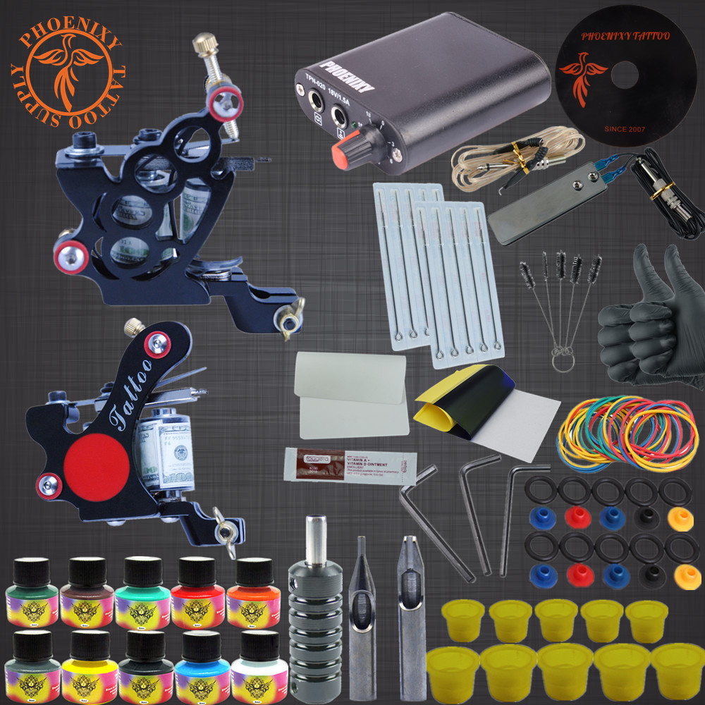 Tattoo Machine Kit Two Tattoo Guns Beginner Tattoo Supplies Professional Tattoo Kit Complete 10 Inks with Power Supply Clip Cord complete tattoo kit 4 professional tattoo machine kit coil machine guns 54 inks power supply needle grips us warehouse in stock