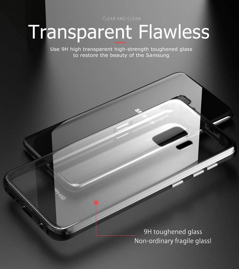 LUPHIE Luxury clear glass cover For Samsung Galaxy S9 S8 Plus Metal Bumper (2)
