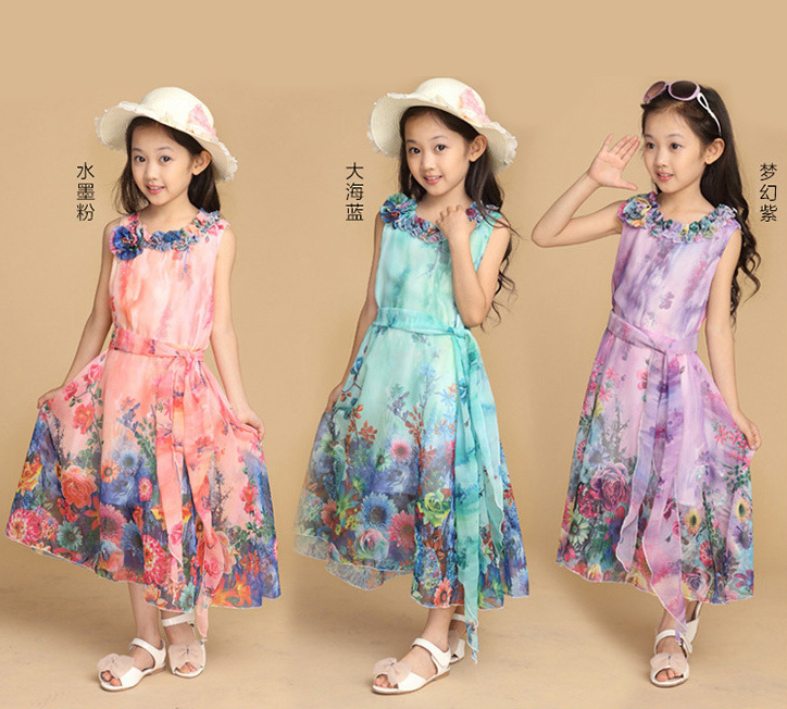 New Summer Children Girl's Chiffon Dresses Kids Floral Bohemian Long Dress Infants Casual Costume Beachwear Girl Brand Clothes