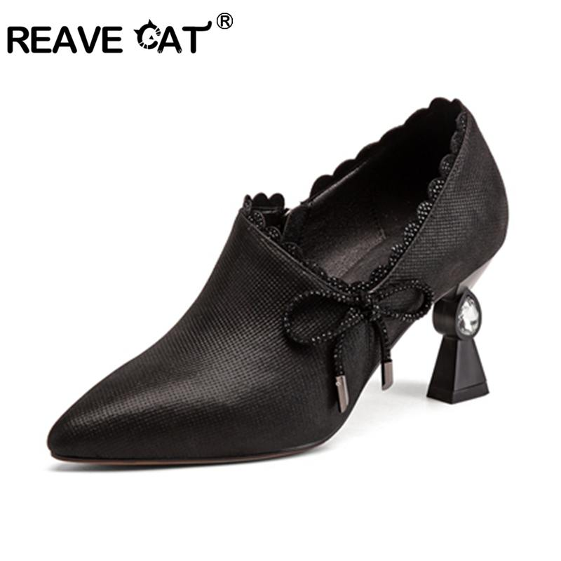 REAVE CAT new design Shoes women Pumps Genuine Leather Ladies high heels Pointed Toe Pump Women