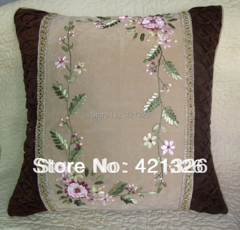 Aliexpress.com : Buy suede fabric hand made ribbon embroidery cushion cover throw pillow without ...
