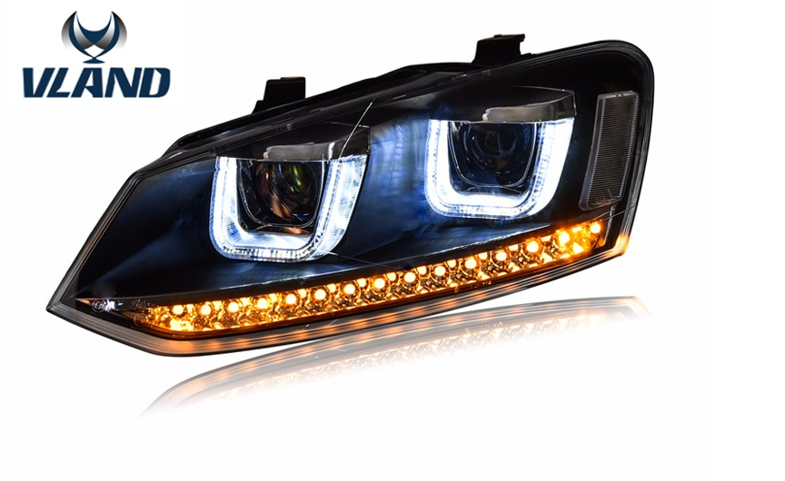 Free shipping for Car head lamp for VW POLO 2010 2015 headlight LED Double U lens Xenon H7 free shipping for vland factory for car head lamp for audi for a3 led headlight 2008 2009 2010 2011 2012 year h7 xenon lens