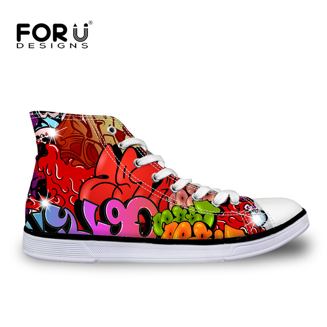 2016  High Quality Star Canvas Shoes for Women Hip Pop Graffiti All Ankle Shoes Zapatos Mujer Breathable Flats Chaussure Femme