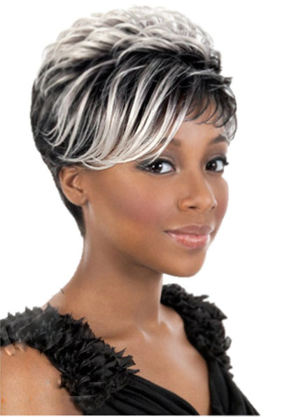 Black Roots White Highlights Short Wig For Black Women Straight Heat
