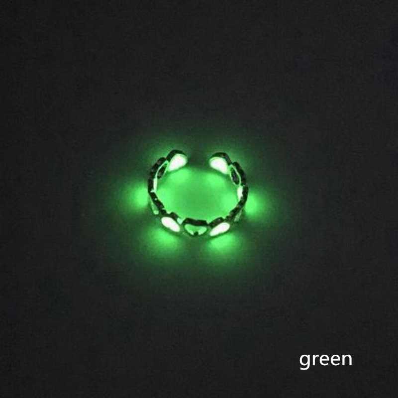 Glow In The Dark Luminosa Fluorescente Glowing Anéis Ajustável Anel Oco Do amor Do Coração Aberto Anel Da Mulher Da Menina Do Partido Por Atacado
