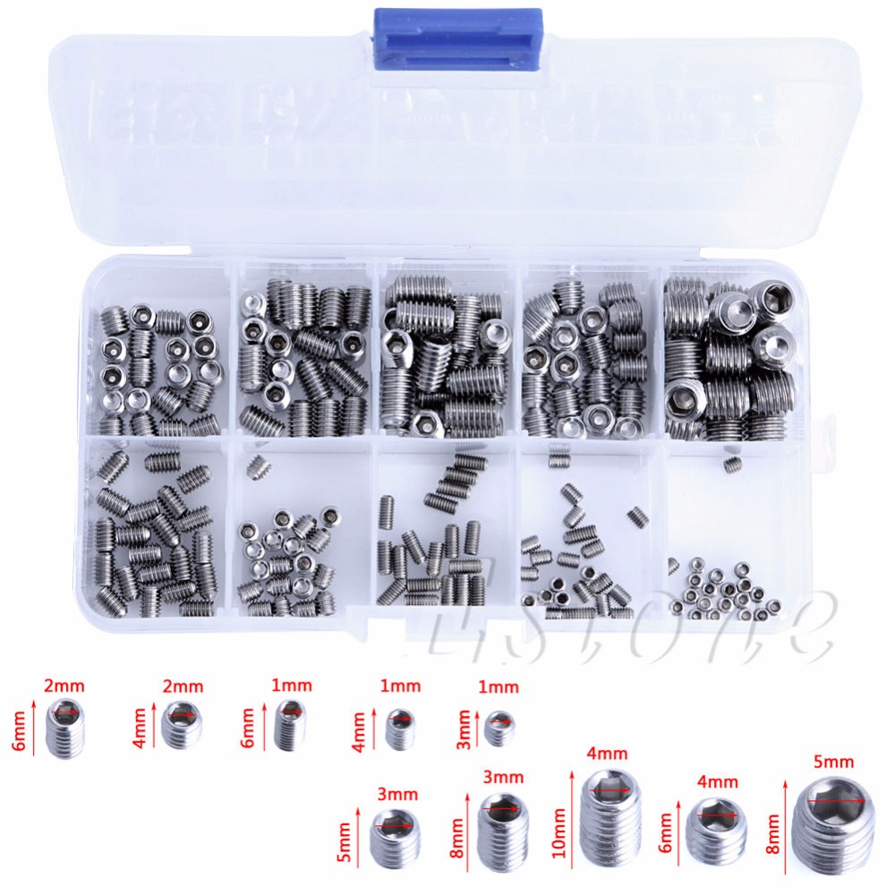 200Pcs Stainless Steel Hex Head Socket Allen Grub Screw Cup Point Assortment Kit 200pcs set stainless steel allen head socket hex set grub screw assortment cup point m3 m4 m5 m6 m8