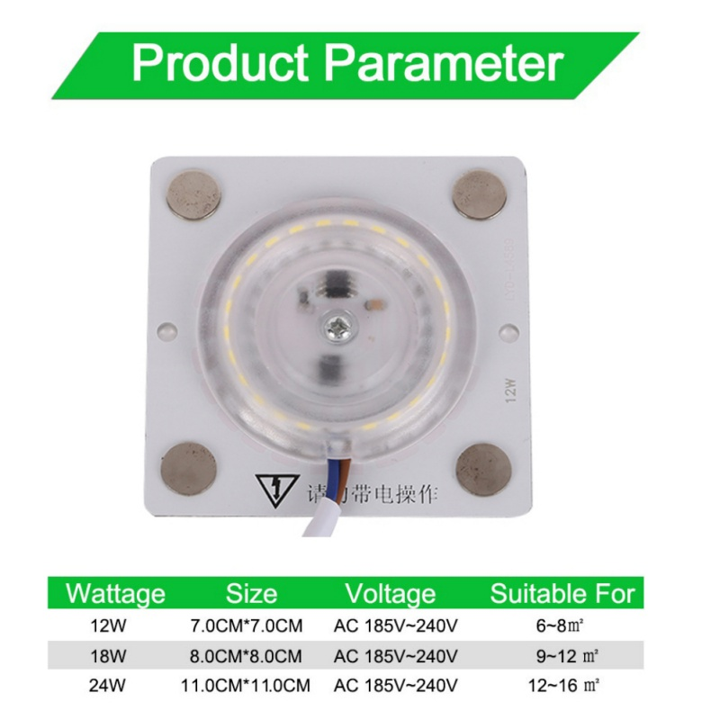 12/18/24W Ultra Thin Bright Light Source Led Module  For Ceiling Lamp Downlight Replace Accessory Plate Magnetic Lamp