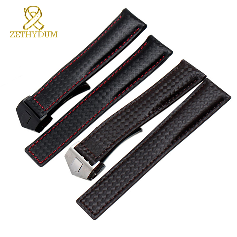 Genuine leather watch strap bracelet watchband red stitched men wristwatches band 19 mm 20mm 22mm Carbon Fiber watch belt bonpoint кожаные пинетки серые