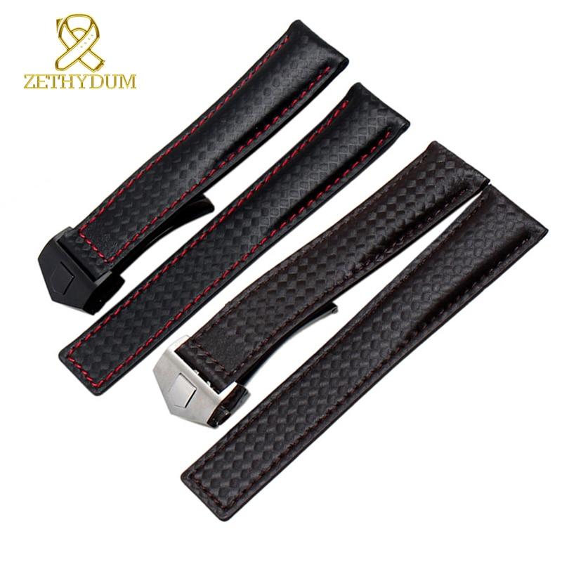 Genuine Leather Watch Strap Bracelet Watchband Red Stitched Men Wristwatches Band 19 Mm 20mm 22mm Carbon Fiber Watch Belt