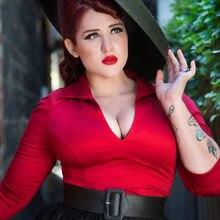 Chemise cintrée à manches 3/4 et col en v pour femmes, vintage, rouge, 50s, pinup, couture, lauren, travail, grande taille