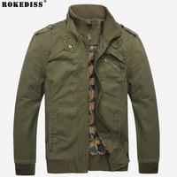 Men Jacket Casual Winter Jacket Menmilitary Cotton Denim Jacket Army Green Solid Zipper Slim Fit Coat